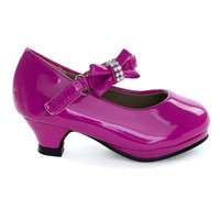 Dana62KA Fuchsia By Forever Link, Fuchsia Infant Baby Mary-Jane Pump w Bow & Rhinestone