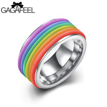 GAGAFEEL 316L Stainless Steel Ring Men Women Jewelry Luxury Gold Color Colorful Trend