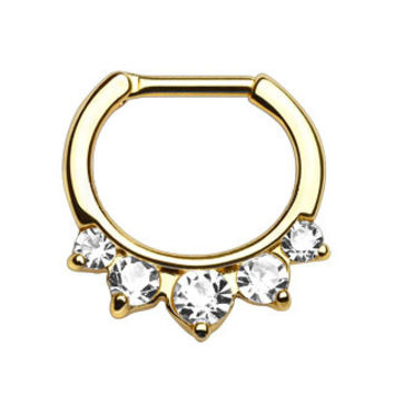 Five Pronged CZ Gold IP Septum Clicker