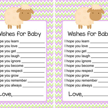 Baby Shower Game Wishes for Baby Lavender and Green Chevron Sheep Lamb Advice Printable Instant Download Printable Boy Girl Game pdf diy
