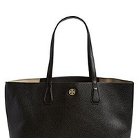 Tory Burch Perry Leather Tote Bag, Black/Beige 1262