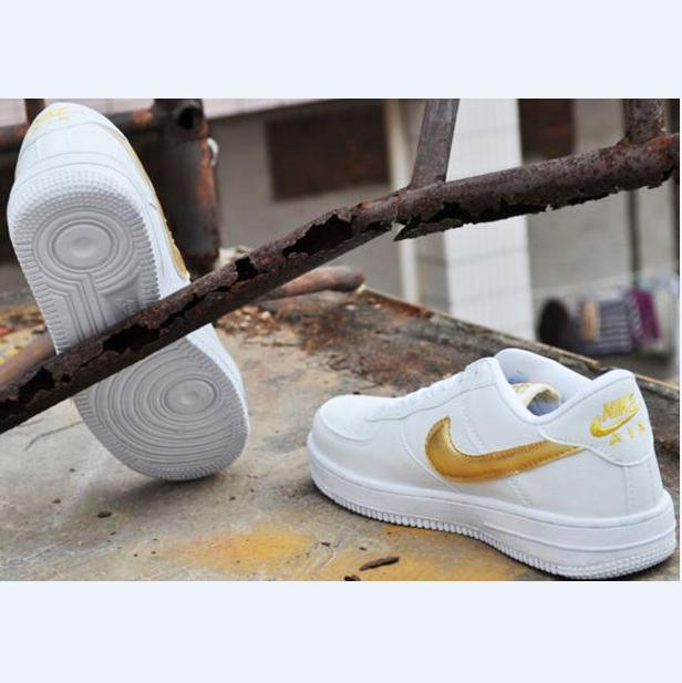 NIKE Women Men Running Sport Casual Shoes Sneakers Air force low help shoes  White gold 796f931808