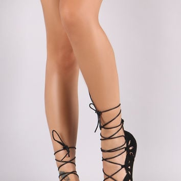 Suede Pointy Toe Caged Cutout Lace Up Ballet Flat | UrbanOG