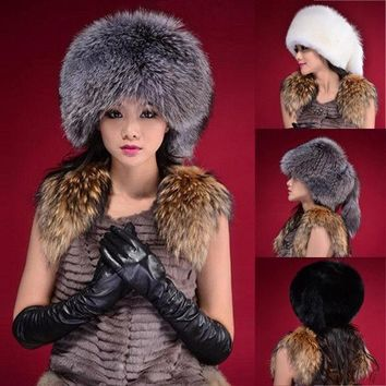 US Ladies Women Fox Fur Hat Cap Russian Style Winter Warm Earflap Cap Snow Hats