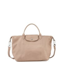 Le Pliage Cuir Handbag with Strap, Sandy
