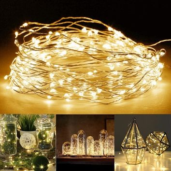 10M 100LED Battery Powered LED Copper Wire Fairy String Light Waterproof for Garden Outdoor Party Christmas Decor