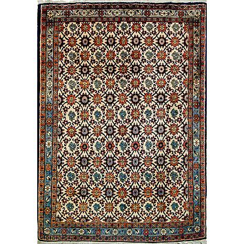Oriental Veramin Persian Wool and Silk Rug, Beige/Orange