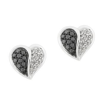 1/3 cttw Black and White Diamond 925 Sterling Silver Stud Heart Earrings