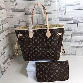 LV Louis Vuitton Trending Women Stylish Leather Handbag Bag Cosmetic Bag Two Piece Set High Quality Coffee LV Print I/A