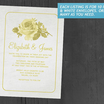 Yellow Rustic Floral/Flower Wedding Invitations | Invites | Invitation Cards