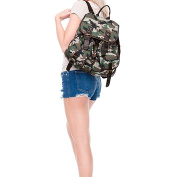 Military Camouflage Green Brown & Tan Vintage Canvas Backpack