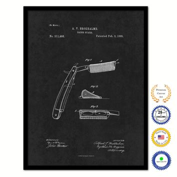 1885 Barber Razor Guard Vintage Patent Artwork Black Framed Canvas Home Office Decor Great for Barber Salon