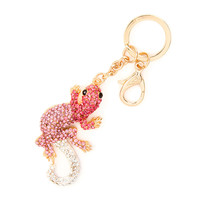 Pink Crystal Lizard Key Ring