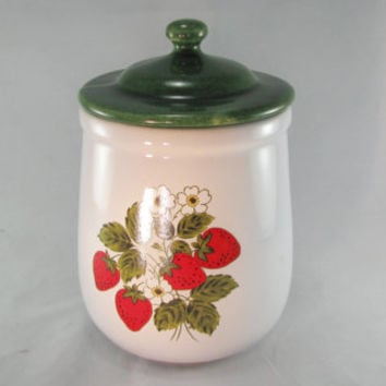 McCoy Pottery Green Lid, Large Ceramic Strawberry Pattern No. 133, Decorative Kitchen Canisters, Green Lids, Vintage 1950s, Made USA