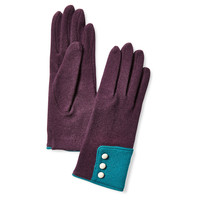 Wool/Leather Button Gloves, Purple, Gloves