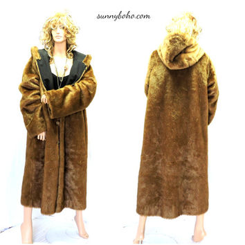 Vintage 80s full length faux fur coat M / L  long hooded faux mink fur coat honey brown fake fur reversible rain coat SunnyBohoVintage