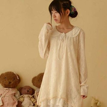 Japanese Spring Women Lace Peter Pan Collar Long Sleeve Sweet Medium Princess Laciness Cute Lovely Lolita Dress Mori Girl C208