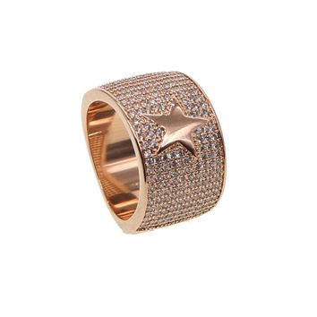 New Arrival Men Fashion Wide Rings Star Hip Hop Simple AAA Cubic Zirconia Turkey Male Vintage Rock Ring in Gold color Jewelry