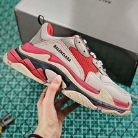 Balenciaga Triple S Trainers Grey/Red Sneaker - Best Online Sale