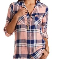 Button-Up Plaid Tunic Top by Charlotte Russe - Blue Combo