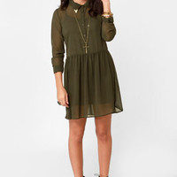 Tip of the Cap Olive Green Shirt Dress