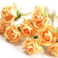 Bridal Hair Accessories, Light orange Rose, Orange flower Hair Bobby Pin, Brass Bobby pin- set 6