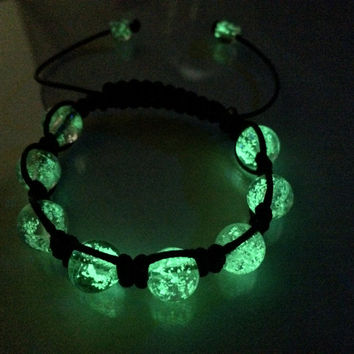 Glow in the dark bracelet , Glow in the dark jewelry , Shamballa Bracelet, Gift Idea , Mens Bracelet , Womens Bracelet , glowing bracelet