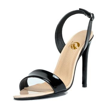 Sexy Women Sandals Popular Open Toe Thin High Heels Gorgeous Back Strap Black Shoes Woman