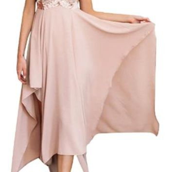 She's Got It Pink Sleeveless Spaghetti Strap Sequin V Neck X Back Asymmetric High Low Maxi Casual Dress