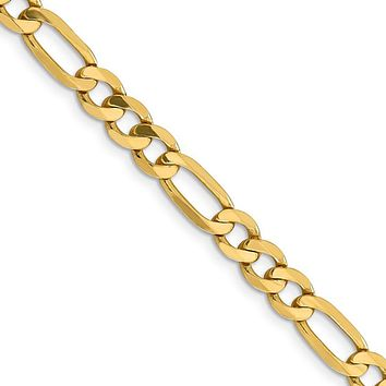 Men's 6.25mm 14k Yellow Gold Solid Flat Figaro Chain Bracelet, 8 Inch