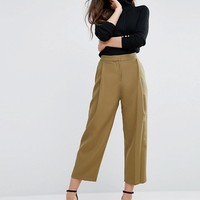 ASOS Relaxed Crop Pant with Pleat Front at asos.com