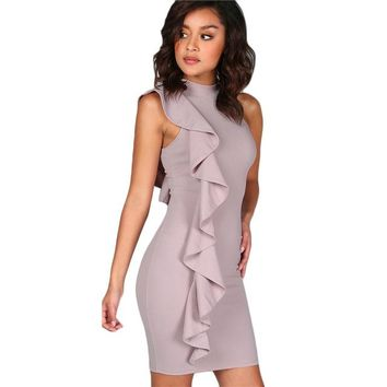 Lavender Frill Bodycon Dress
