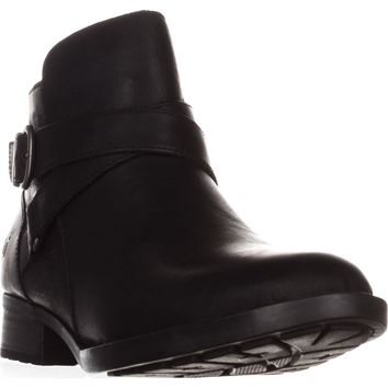 Born Chaval Flat Casual Ankle Boots, Black Leather, 7.5 US / 38.5 EU