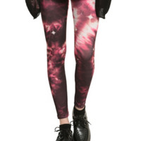 Red And Black Galaxy Leggings
