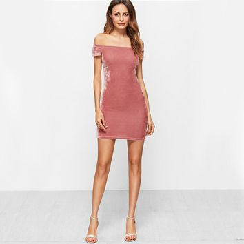 Sexy Off The Shoulder Velvet Party Club Dress