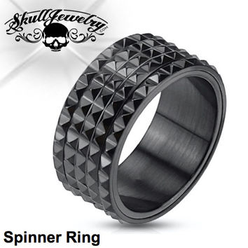 Black Spike SPINNER Ring (c027)