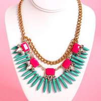 Trinket Belle Pink and Turquoise Statement Necklace