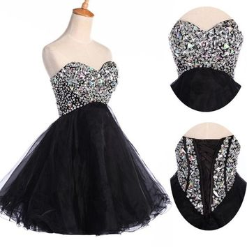 BEADED Bridesmaid Party Prom Formal Evening Short Homecoming Gown Grad Dresses