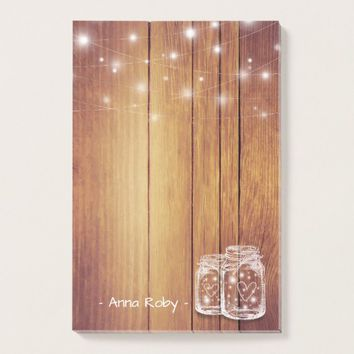 Rustic Wood Elegant Mason Jar Vintage String Light Post-it Notes