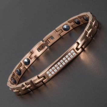 2018 New Style Energy Health Bracelet 99.999% High Pure Germanium Bracelet Stainless Steel MagneticTherapy Bracelet for Women