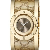 Gucci Women's YA112434 Twirl Gold Guccissima Leather Bangle Watch