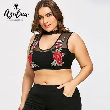 AZULINA Plus Size Embroidery Sheer Tank Top 2018 Summer Fashion Lace Sleeveless Cropped Top Big Size Women Clothes Sexy Vest 5XL