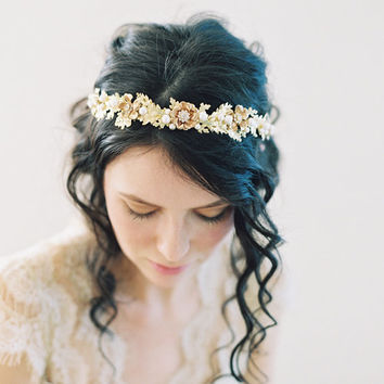 Oak leaf wedding headpiece, Woodland boho crown - no. 2055