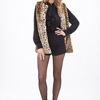 LOVE 21 Faux Fur Leopard Vest Brown/Tan