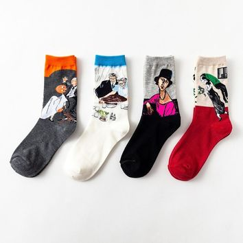Retro Short Art Pattern Funny Cotton Socks Women Oil Painting Socks Men Unisex Van Gogh Halloween Pear Skate Short Socks Female