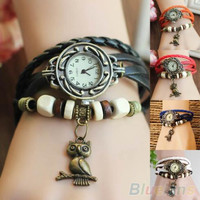 Women Girls Retro Braided Leather Bracelet Owl Decoration Quartz Wrist Watch
