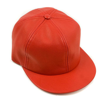 Red Six Panel Leather Cap