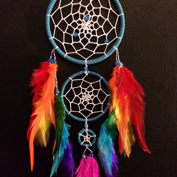 Rainbow triple dream catcher, white beaded web, rainbow feathers and glass bead finish.  dreamcatcher hand made