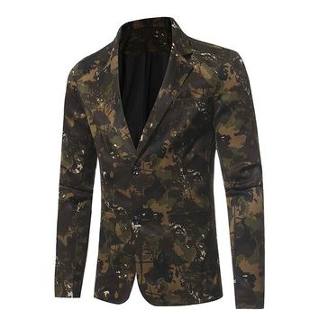 New Autumn Business Casual Suit Camouflage Series Of Male Small Suit Jacket Optional Wedding Groom Suits