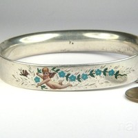 ANTIQUE SILVER ENAMEL CUFF BANGLE BRACELET c1880 CHERUB / CUPID & BUTTERFLY